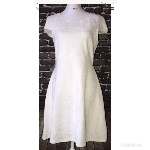 0c6f9655 Zara Dresses | Ivory Textured Fit Flare Stretch Dress Sz L | Poshmark
